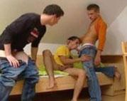 Drei junge Männer, drei geile feuchte Arschlöcher